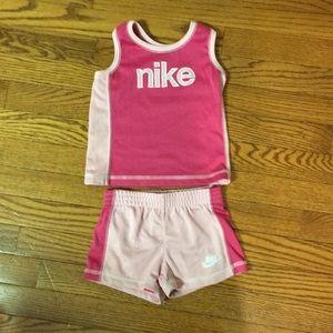 Nike pink tank top & shorts size 3T